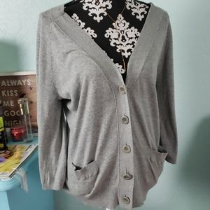 Vince grey cardigan sweater w button sleeve